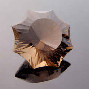 Smokey Quartz, Concave Octagon Star, #c36