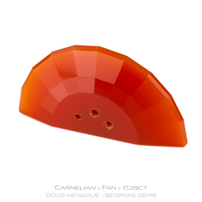 Carnelian, Fan, Brazil, 17.29 Carats, 29.8x15.41x5.65mm, #1003, A beautiful piece of carnelian which has been cut in a wonderful fan design.. Doug Menadue :: Bespoke Gems :: WWW.BESPOKE-GEMS.COM - Finest Precision Custom Gemcutting Based In Sydney Australia