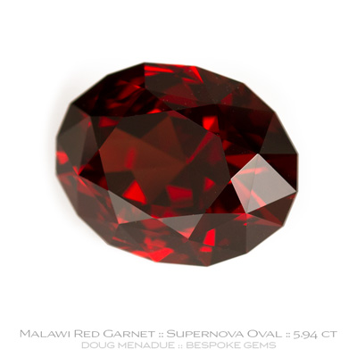 Red Garnet, Supernova Oval, Malawi, 5.94 Carats, 11.80x9.29x7.37mm, #1028, A very fine natural Red Garnet which has been cut in the wonderful Supernova Oval design. Doug Menadue :: Bespoke Gems :: WWW.BESPOKE-GEMS.COM - Finest Precision Custom Gemcutting Based In Sydney Australia
