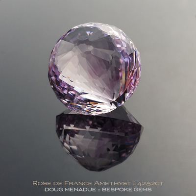 Rose de France Amethyst, Sandalphonic Elements, Brazil, 42.52 Carats, 19.92x19.92x20.05mm, #1034, A very fine natural Rose de France Amethyst which has been cut in the wonderful Sandalphonic Elements design. Doug Menadue :: Bespoke Gems :: WWW.BESPOKE-GEMS.COM - Finest Precision Custom Gemcutting Based In Sydney Australia