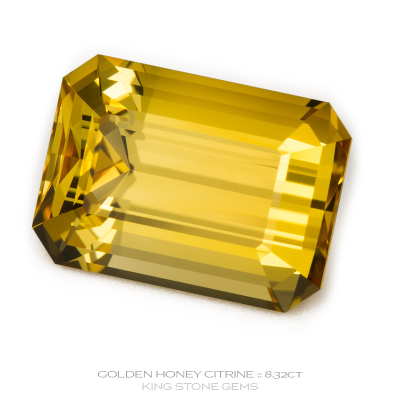 Golden Honey Citrine, Emerald Cut, Brazil, 8.32 Carats, 14.09x10.09x8.26mm, #1035, A very fine natural Golden Honey Citrine which has been cut in the wonderful Emerald Cut design. Doug Menadue :: Bespoke Gems :: WWW.BESPOKE-GEMS.COM - Finest Precision Custom Gemcutting Based In Sydney Australia - Doug Menadue :: Bespoke Gems - Master gemcutter and lapidary artist specialising in fine custom cut precision gems from a wide range of select facet gem rough. Located in Sydney, Australia.