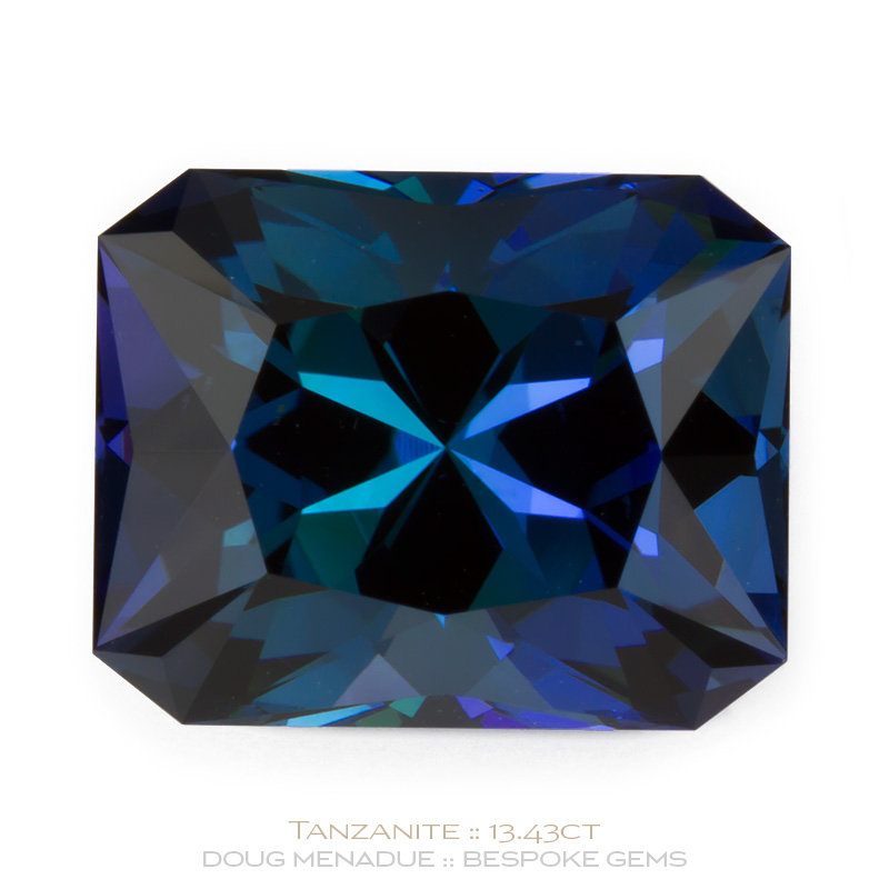 Tanzanite, Star Crossed Rectangle, Tanzania, Star Crossed Rectangle Carats, 14.36x11.49x10.39mm, #1064, A beautiful piece of Tanzanite which has been cut in a wonderful Star Crossed Rectangle design.. Doug Menadue :: Bespoke Gems :: WWW.BESPOKE-GEMS.COM - Finest Precision Custom Gemcutting Based In Sydney Australia