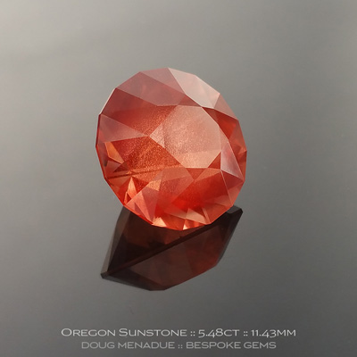 Oregon Sunstone, SG1 Round Brilliant, Oregon, USA, SG1 Round Brilliant Carats, 11.43x11.43x8.84mm, #1075, A very fine natural Oregon Sunstone which has been cut in the wonderful SG1 Round Brilliant design. Doug Menadue :: Bespoke Gems :: WWW.BESPOKE-GEMS.COM - Finest Precision Custom Gemcutting Based In Sydney Australia
