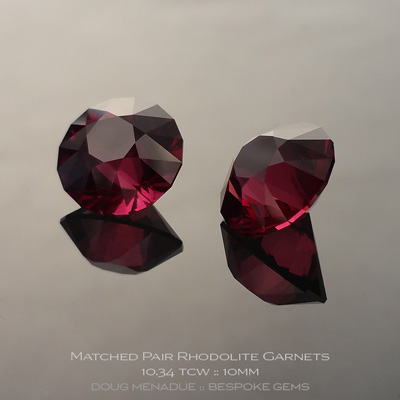 Rhodolite Garnet, SG1 Round Brilliant, Tanzania, SG1 Round Brilliant Carats, 10.10x10.09x7.48mm, 10.08x10.07x7.55mmmm, #1077, A very fine natural Rhodolite Garnet which has been cut in the wonderful SG1 Round Brilliant design. Doug Menadue :: Bespoke Gems :: WWW.BESPOKE-GEMS.COM - Finest Precision Custom Gemcutting Based In Sydney Australia