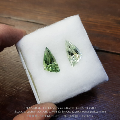 #1121, Prasiolite, Leaf, 8.25, 8.50 Carats, 21.8x11.05x8.37mm, 21.99x11.13x8.43mm, Dark and Light Green - A beautiful natural Prasiolite from Brazil - Doug Menadue :: Bespoke Gems :: WWW.BESPOKE-GEMS.COM - Finest Quality Precision Custom Gemcutting and Lapidary Services Based In Sydney Australia