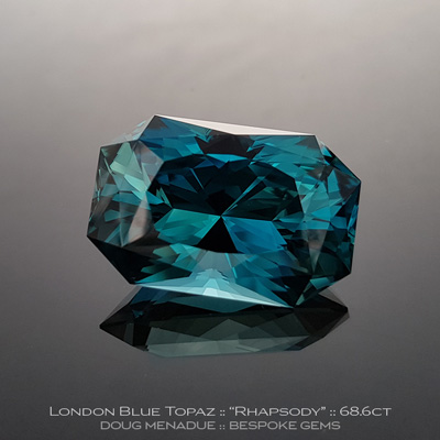 1128, London Blue Topaz, Rhapsody - Lizunova Variation, 68.6 Carats,  29x19.32x15.65mm, London Blue Green Teal - A beautiful London Blue Topaz from Brazil - Doug Menadue :: Bespoke Gems :: WWW.BESPOKE-GEMS.COM - Finest Quality Precision Custom Gemcutting and Lapidary Services Based In Sydney Australia
