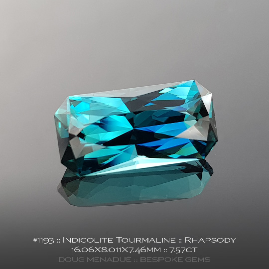 1193, Indicolite Tourmaline Blue, Rhapsody, 7.57 Carats, 16.06X8.01X7.46mm - A beautiful natural Indicolite Tourmaline from the gemfields around Afghanistan - Doug Menadue :: Bespoke Gems :: WWW.BESPOKE-GEMS.COM - Finest Quality Precision Custom Gemcutting and Lapidary Services Based In Sydney Australia