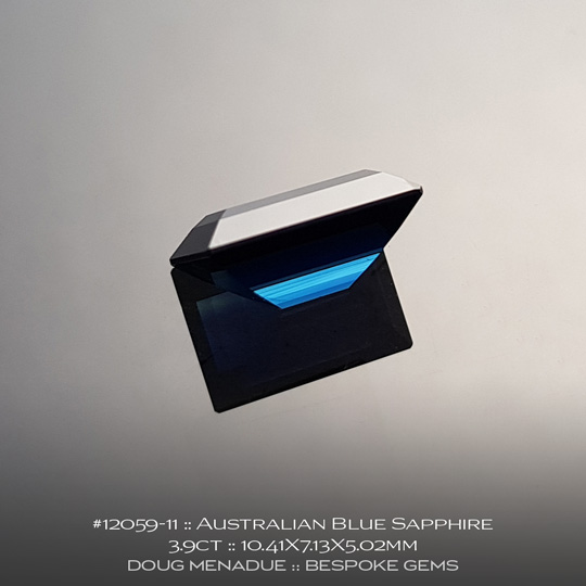 #12059-11, Australian Sapphire, Baguette, 3.90 Carats, 10.41X7.13X5.02mm, Blue - A beautiful natural Australian Sapphire from the gemfields around Rubyvale, Central Queensland, Australia - Doug Menadue :: Bespoke Gems :: WWW.BESPOKE-GEMS.COM - Finest Quality Precision Custom Gemcutting and Lapidary Services Based In Sydney Australia
