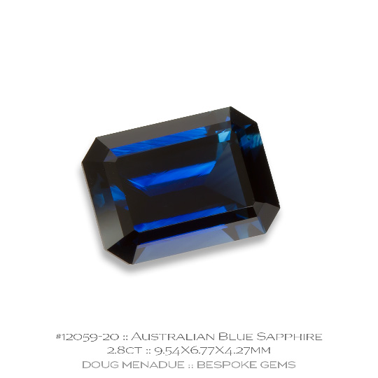 12059-20, Australian Blue Sapphire, Emerald Cut, 2.80 Carats, 9.54X6.77X4.27mm - A beautiful natural Australian Sapphire from the gemfields around Rubyvale, Central Queensland, Australia - Doug Menadue :: Bespoke Gems :: WWW.BESPOKE-GEMS.COM - Finest Quality Precision Custom Gemcutting and Lapidary Services Based In Sydney Australia