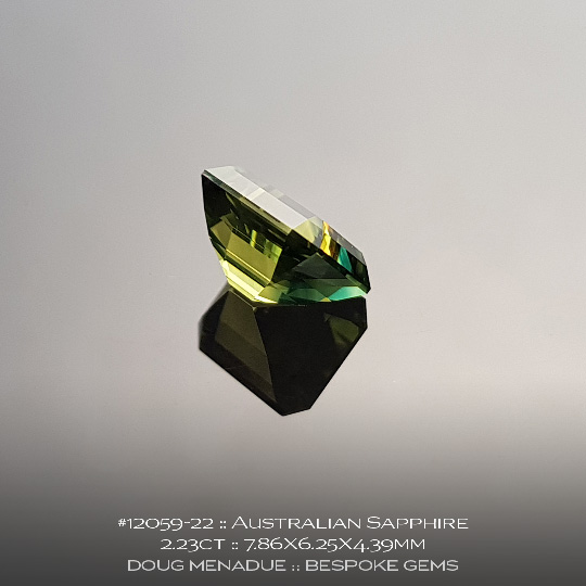 #12059-22, Australian Greenish Yellow Sapphire, 2.23ct, Emerald Cut - A beautiful natural Australian Sapphire from the gemfields around Rubyvale, Central Queensland, Australia - Doug Menadue :: Bespoke Gems :: WWW.BESPOKE-GEMS.COM - Finest Quality Precision Custom Gemcutting and Lapidary Services Based In Sydney Australia