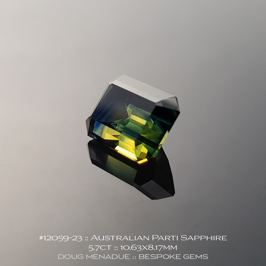 #12059-23, Australian Sapphire, Emerald Cut, 5.70 Carats, 10.63X8.17X6.33mm, Blue - A beautiful natural Australian Sapphire from the gemfields around Rubyvale, Central Queensland, Australia - Doug Menadue :: Bespoke Gems :: WWW.BESPOKE-GEMS.COM - Finest Quality Precision Custom Gemcutting and Lapidary Services Based In Sydney Australia