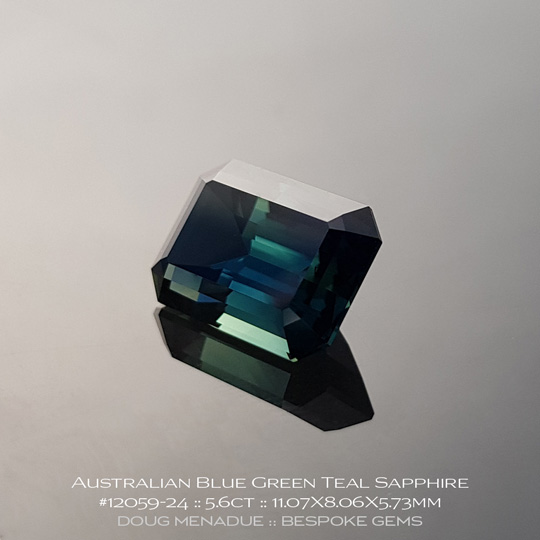 12059-24, Australian Sapphire, Emerald Cut, 5.60 Carats, 11.07X8.06X5.73mm, Blue - A beautiful natural Australian Sapphire from the gemfields around Rubyvale, Central Queensland, Australia - Doug Menadue :: Bespoke Gems :: WWW.BESPOKE-GEMS.COM - Finest Quality Precision Custom Gemcutting and Lapidary Services Based In Sydney Australia
