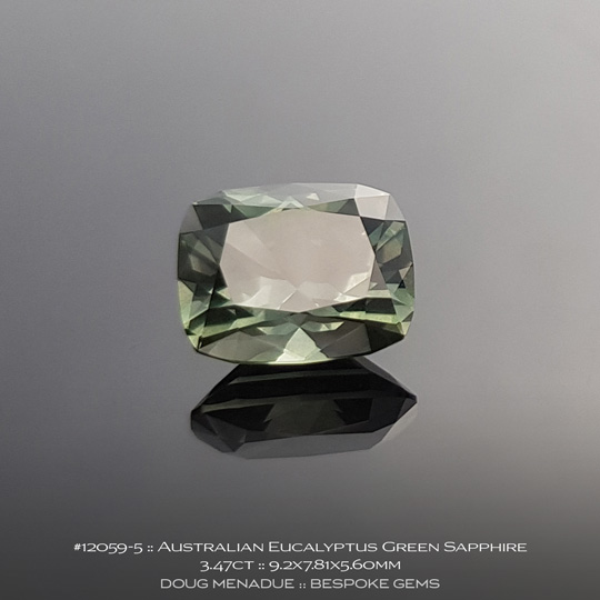 #12059-5, Australian Sapphire, Rectangle Cushion, 3.47 Carats, 9.2X7.81X5.60mm, Eucalyptus Green - A beautiful natural Australian Sapphire from the gemfields around Rubyvale, Central Queensland, Australia - Doug Menadue :: Bespoke Gems :: WWW.BESPOKE-GEMS.COM - Finest Quality Precision Custom Gemcutting and Lapidary Services Based In Sydney Australia