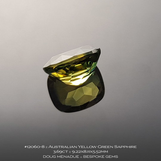 #12060-8, Australian Sapphire, Rectangle Cushion, 3.69 Carats, 9.22X8.11X5.52mm, Parti Colour - Yellow Green - A beautiful natural Australian Sapphire from the gemfields around Rubyvale, Central Queensland, Australia - Doug Menadue :: Bespoke Gems :: WWW.BESPOKE-GEMS.COM - Finest Quality Precision Custom Gemcutting and Lapidary Services Based In Sydney Australia