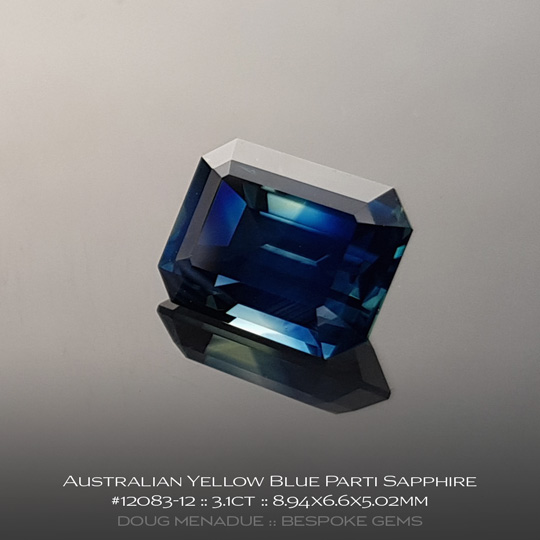 12083-12, Australian Sapphire, Emerald Cut, 3.1 Carats, 8.94X6.6X5.02mm, Yellow Blue Parti - A beautiful natural Australian Sapphire from the gemfields around Rubyvale, Central Queensland, Australia - Doug Menadue :: Bespoke Gems :: WWW.BESPOKE-GEMS.COM - Finest Quality Precision Custom Gemcutting and Lapidary Services Based In Sydney Australia