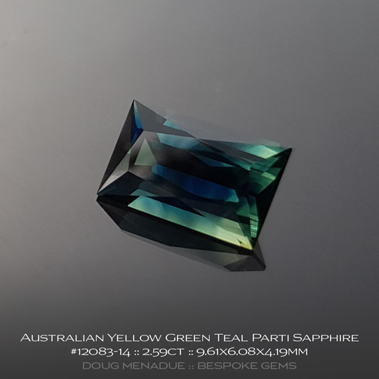 12083-14, Australian Sapphire, Scissor Baguette, 2.59 Carats, 9.61X6.08X4.19mm, Yellow Green Blue Teal Parti - A beautiful natural Australian Sapphire from the gemfields around Rubyvale, Central Queensland, Australia - Doug Menadue :: Bespoke Gems :: WWW.BESPOKE-GEMS.COM - Finest Quality Precision Custom Gemcutting and Lapidary Services Based In Sydney Australia