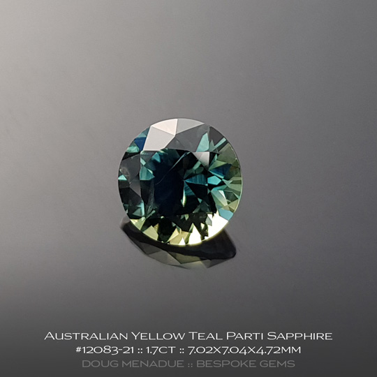 12083-21, Australian Sapphire, Round Brilliant, 1.7 Carats, 7.02X7.04X4.72mm, Green Bronze - A beautiful natural Australian Sapphire from the gemfields around Rubyvale, Central Queensland, Australia - Doug Menadue :: Bespoke Gems :: WWW.BESPOKE-GEMS.COM - Finest Quality Precision Custom Gemcutting and Lapidary Services Based In Sydney Australia