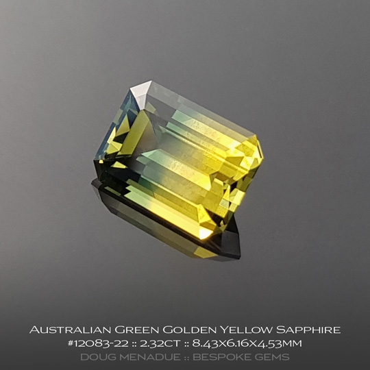 12083-22, Australian Sapphire, Emerald Cut, 2.32 Carats, 8.43X6.16X4.53mm,Green Golden Yellow - A beautiful natural Australian Sapphire from the gemfields around Rubyvale, Central Queensland, Australia - Doug Menadue :: Bespoke Gems :: WWW.BESPOKE-GEMS.COM - Finest Quality Precision Custom Gemcutting and Lapidary Services Based In Sydney Australia