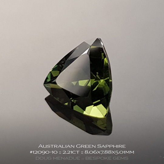 #12090-10, Green Sapphire, Trillion, 2.21 Carats, 13.16X13.11X10.41mm - A beautiful natural Rubyvale, Central Queensland, Australian Sapphire - Doug Menadue :: Bespoke Gems - WWW.BESPOKE-GEMS.COM - Precision Gemcutting and Lapidary Services In Sydney Australia