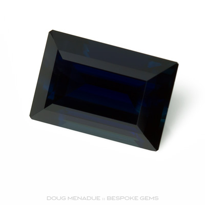 Blue Sapphire, Baguette, Rubyvale, Central Queensland, Australia, 3.90 Carats, 10.4X7.2X5.03mm, #12112-13, A beautiful natural Blue Sapphire from the Australian sapphire gemfields. Doug Menadue :: Bespoke Gems :: WWW.BESPOKE-GEMS.COM - Finest Precision Custom Gemcutting Based In Sydney Australia