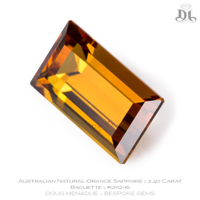 Orange Sapphire, Baguette, Rubyvale, Central Queensland, Australia, 2.40 Carats, 9.7X5.5X4.03mm, #12112-16, A beautiful natural Orange Sapphire from the Australian sapphire gemfields. Doug Menadue :: Bespoke Gems :: WWW.BESPOKE-GEMS.COM - Finest Precision Custom Gemcutting Based In Sydney Australia