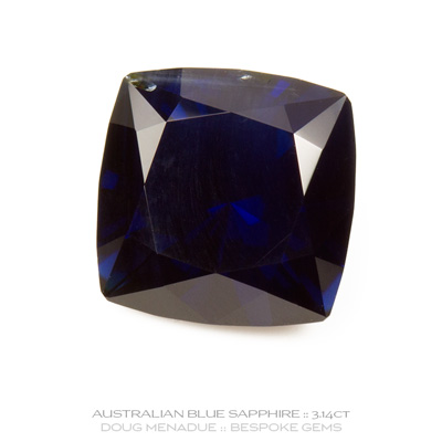 Blue Sapphire, Square Cushion, Rubyvale, Central Queensland, Australia, 3.14 Carats, 8.1X8.1X5.45mm, #12112-18, A beautiful natural Blue Sapphire from the Australian sapphire gemfields. Doug Menadue :: Bespoke Gems :: WWW.BESPOKE-GEMS.COM - Finest Precision Custom Gemcutting Based In Sydney Australia