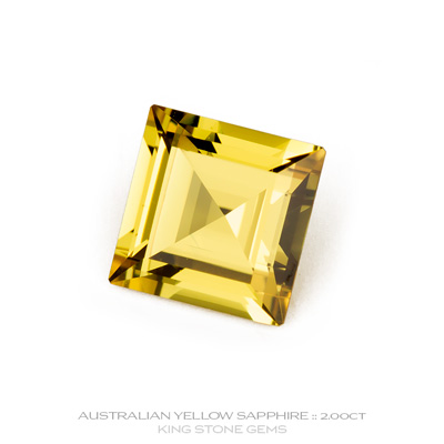 Yellow Sapphire, Square Step Cut, Rubyvale, Central Queensland, Australia, 2.00 Carats, 7X7.02X4.31mm, #12112-23, A beautiful natural Yellow Sapphire from the Australian sapphire gemfields. Doug Menadue :: Bespoke Gems :: WWW.BESPOKE-GEMS.COM - Finest Precision Custom Gemcutting Based In Sydney Australia
