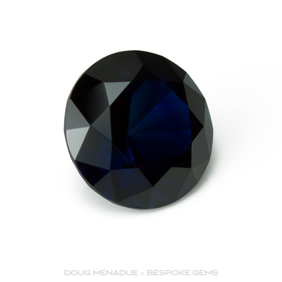 Blue Sapphire, Round Brilliant, Lava Plains, North Queensland, Australia, 2.57 Carats, 8.16X8.16X5.26mm, #12112-25, A beautiful natural Blue Sapphire from the Australian sapphire gemfields. Doug Menadue :: Bespoke Gems :: WWW.BESPOKE-GEMS.COM - Finest Precision Custom Gemcutting Based In Sydney Australia