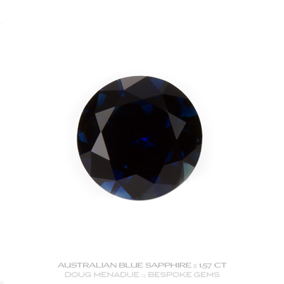 Blue Sapphire, Round Brilliant, Rubyvale, Queensland, Australia, 1.57 Carats, 7.1X7.1X4.23mm, #12112-26, A beautiful natural Blue Sapphire from the Australian sapphire gemfields. Doug Menadue :: Bespoke Gems :: WWW.BESPOKE-GEMS.COM - Finest Precision Custom Gemcutting Based In Sydney Australia