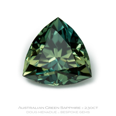 Green Sapphire, Trillion, Rubyvale, Central Queensland, Australia, 2.30 Carats, 7.99X7.99X5.21mm, #12112-30, A beautiful natural Green Sapphire from the Australian sapphire gemfields. Doug Menadue :: Bespoke Gems :: WWW.BESPOKE-GEMS.COM - Finest Precision Custom Gemcutting Based In Sydney Australia