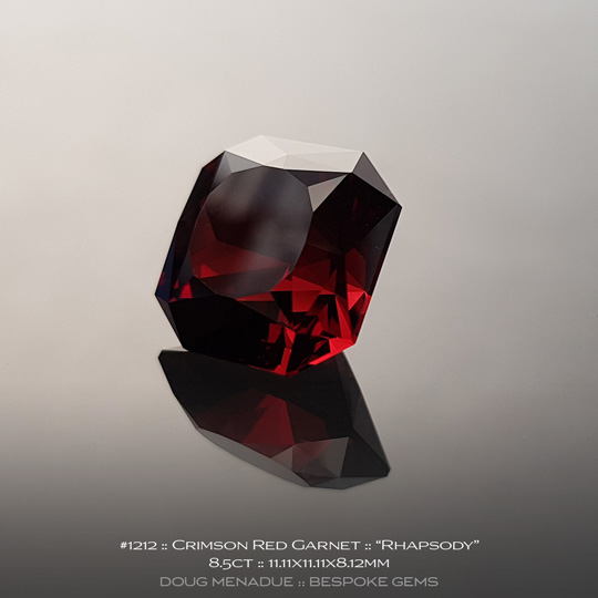 1212, Garnet, Rhapsody - A beautiful Garnet from Africa - Doug Menadue :: Bespoke Gems :: WWW.BESPOKE-GEMS.COM - Finest Quality Precision Custom Gemcutting and Lapidary Services Based In Sydney Australia