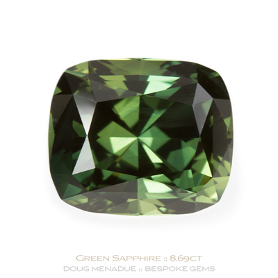 Green Sapphire, Rectangle Cushion, Rubyvale, Central Queensland, Australia, 8.69 Carats, 12.63X10.74X7.80mm, #121261, A beautiful natural Green Sapphire from the Australian sapphire gemfields. Doug Menadue :: Bespoke Gems :: WWW.BESPOKE-GEMS.COM - Finest Precision Custom Gemcutting Based In Sydney Australia