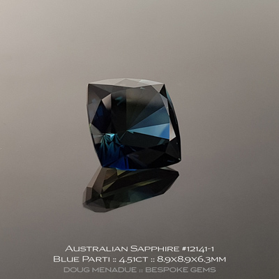 12141-1, Australian Sapphire, Square Cushion, 4.51 Carats, 8.9x8.9x6.3mm, Teal Blue Yellow Parti - A beautiful natural Australian Sapphire from the gemfields around Rubyvale, Central Queensland, Australia - Doug Menadue :: Bespoke Gems :: WWW.BESPOKE-GEMS.COM - Finest Quality Precision Custom Gemcutting and Lapidary Services Based In Sydney Australia