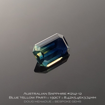 #12141-12, Australian Sapphire, Emerald Cut, 1.92 Carats, 8.42x5.46x3.74mm, Blue Yellow Parti - A beautiful natural Australian Sapphire from the gemfields around Rubyvale, Central Queensland, Australia - Doug Menadue :: Bespoke Gems :: WWW.BESPOKE-GEMS.COM - Finest Quality Precision Custom Gemcutting and Lapidary Services Based In Sydney Australia