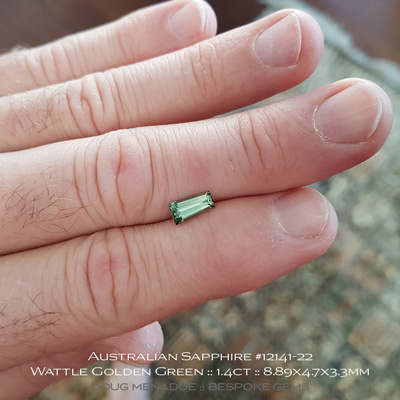 #12141-22, Australian Sapphire, Tapered Baguette, 1.40 Carats, 8.89x4.7x3.3mm, Bright Wattle Golden Green - A beautiful natural Australian Sapphire from the gemfields around Rubyvale, Central Queensland, Australia - Doug Menadue :: Bespoke Gems :: WWW.BESPOKE-GEMS.COM - Finest Quality Precision Custom Gemcutting and Lapidary Services Based In Sydney Australia