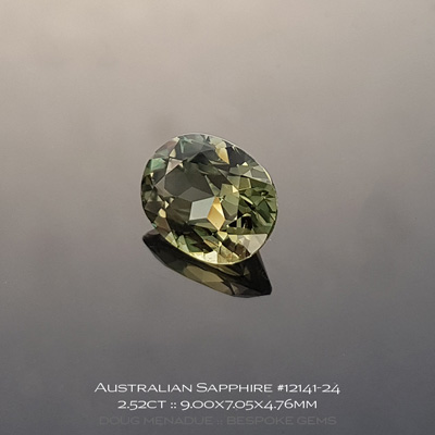 #12141-24, Australian Sapphire, Oval, 2.52 Carats, 9.00x7.05x4.76mm, Golden Olive - A beautiful natural Australian Sapphire from the gemfields around Rubyvale, Central Queensland, Australia - Doug Menadue :: Bespoke Gems :: WWW.BESPOKE-GEMS.COM - Finest Quality Precision Custom Gemcutting and Lapidary Services Based In Sydney Australia