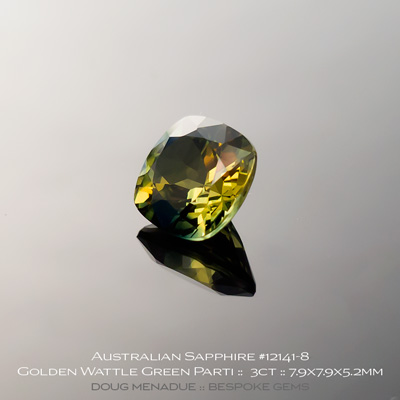 #12141-8, Australian Sapphire, Square Cushion, 3 Carats, 7.9X7.9X5.2mm, Golden Wattle Green Parti - A beautiful natural Australian Sapphire from the gemfields around Rubyvale, Central Queensland, Australia - Doug Menadue :: Bespoke Gems :: WWW.BESPOKE-GEMS.COM - Finest Quality Precision Custom Gemcutting and Lapidary Services Based In Sydney Australia