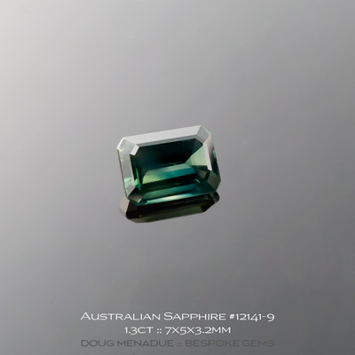 12141-9, Australian Sapphire, Emerald Cut, 1.30 Carats, 7X5X3.2mm, Blue Teal - A beautiful natural Australian Sapphire from the gemfields around Rubyvale, Central Queensland, Australia - Doug Menadue :: Bespoke Gems :: WWW.BESPOKE-GEMS.COM - Finest Quality Precision Custom Gemcutting and Lapidary Services Based In Sydney Australia