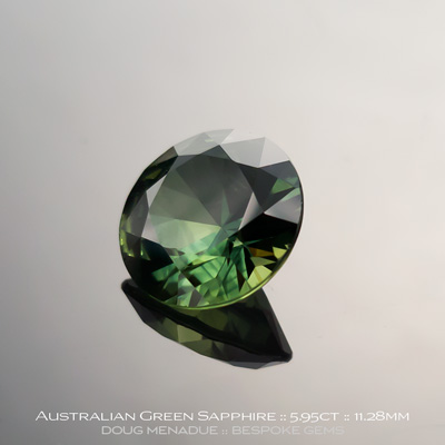 12146-1, Australian Sapphire, Round Brilliant, 5.95 Carats, 11.28x11.24x6.36mm, Green - A beautiful natural Australian Sapphire from the gemfields around Rubyvale, Central Queensland, Australia - Doug Menadue :: Bespoke Gems :: WWW.BESPOKE-GEMS.COM - Finest Quality Precision Custom Gemcutting and Lapidary Services Based In Sydney Australia