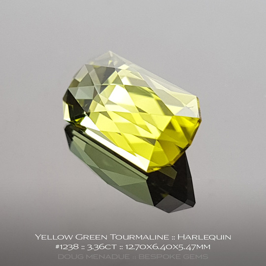 #1238, Yellow Green Tourmaline, Harlequin, 3.36 Carats, 13.16X13.11X10.41mm - A beautiful natural African Tourmaline - Doug Menadue :: Bespoke Gems - WWW.BESPOKE-GEMS.COM - Precision Gemcutting and Lapidary Services In Sydney Australia