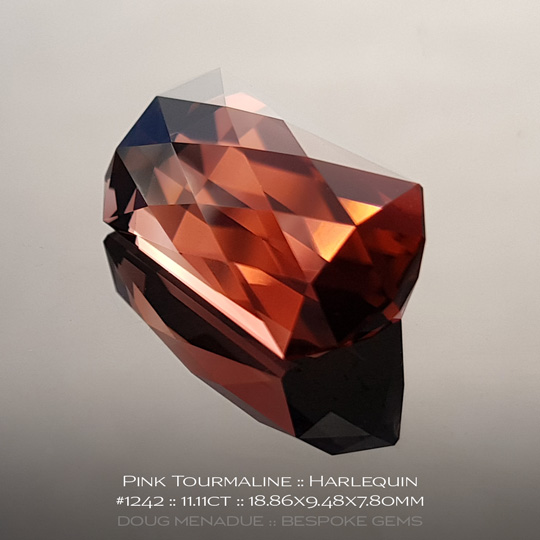 #1242, Pink Tourmaline, Harlequin, 11.11 Carats, 13.16X13.11X10.41mm - A beautiful natural African Tourmaline - Doug Menadue :: Bespoke Gems - WWW.BESPOKE-GEMS.COM - Precision Gemcutting and Lapidary Services In Sydney Australia