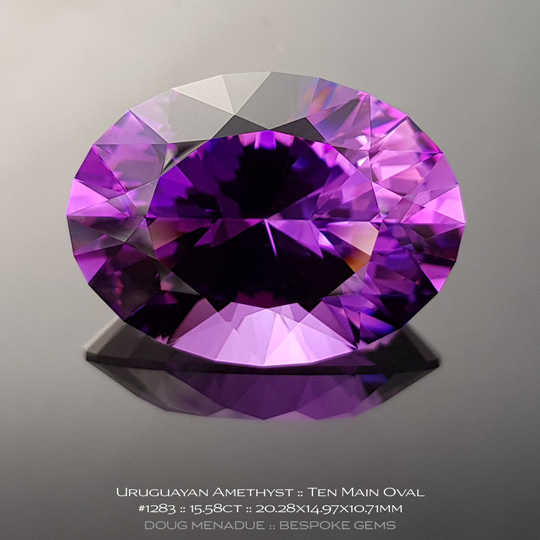 #1283, Purple Amethyst, Ten Main Oval, 15.58 Carats, 13.16X13.11X10.41mm - A beautiful natural Uruguayn Amethyst - Doug Menadue :: Bespoke Gems - WWW.BESPOKE-GEMS.COM - Precision Gemcutting and Lapidary Services In Sydney Australia
