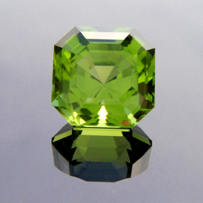 Asscher Cut Peridot, Asscher Cut, #140 - Doug Menadue :: Bespoke Gems - Master gemcutter and lapidary artist specialising in fine custom cut precision gems from a wide range of select facet gem rough. Located in Sydney, Australia.