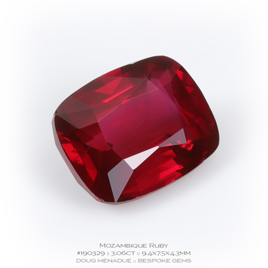 #190329, Red Ruby, Rectangle Cushion, 3.06 Carats, 13.16X13.11X10.41mm - A beautiful natural Mozambique Mozambique - Doug Menadue :: Bespoke Gems - WWW.BESPOKE-GEMS.COM - Precision Gemcutting and Lapidary Services In Sydney Australia