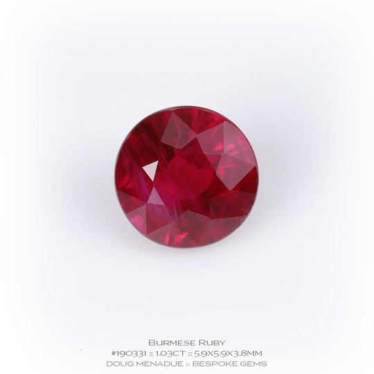 #190331, Red Ruby, Round, 1.03 Carats, 13.16X13.11X10.41mm - A beautiful natural Burma Burma - Doug Menadue :: Bespoke Gems - WWW.BESPOKE-GEMS.COM - Precision Gemcutting and Lapidary Services In Sydney Australia