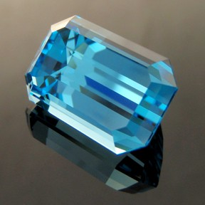 Electric Blue Topaz, Emerald Cut, Brazil, #249