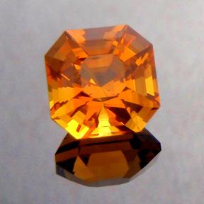 Madeira Citrine, Asscher Cut, #291 - Doug Menadue :: Bespoke Gems - Master gemcutter and lapidary artist specialising in fine custom cut precision gems from a wide range of select facet gem rough. Located in Sydney, Australia.