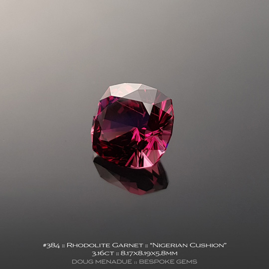 384, Rhodolite Garnet, Nigerian Cushion, 3.16 Carats, 8.17X8.19X5.8mm, Pinkish Red - A beautiful natural Rhodolite Garnet from the gemfields of Tanzania - Doug Menadue :: Bespoke Gems :: WWW.BESPOKE-GEMS.COM - Finest Quality Precision Custom Gemcutting and Lapidary Services Based In Sydney Australia