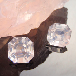 Rose Quartz, Asscher, #444 - Doug Menadue :: Bespoke Gems - Master gemcutter and lapidary artist specialising in fine custom cut precision gems from a wide range of select facet gem rough. Located in Sydney, Australia.