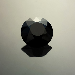 Black Spinel, Rubyvale, Australia, Round Brilliant, #568 - Doug Menadue :: Bespoke Gems - Master gemcutter and lapidary artist specialising in fine custom cut precision gems from a wide range of select facet gem rough. Located in Sydney, Australia.